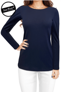Ginger Threads Collections Navy Long Sleeve Top