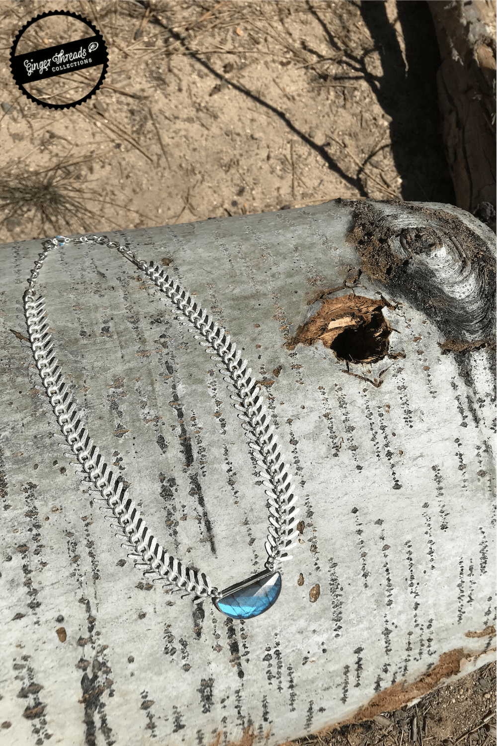 Ginger Threads Collections Necklace Athena Silver Frost Labradorite Necklace
