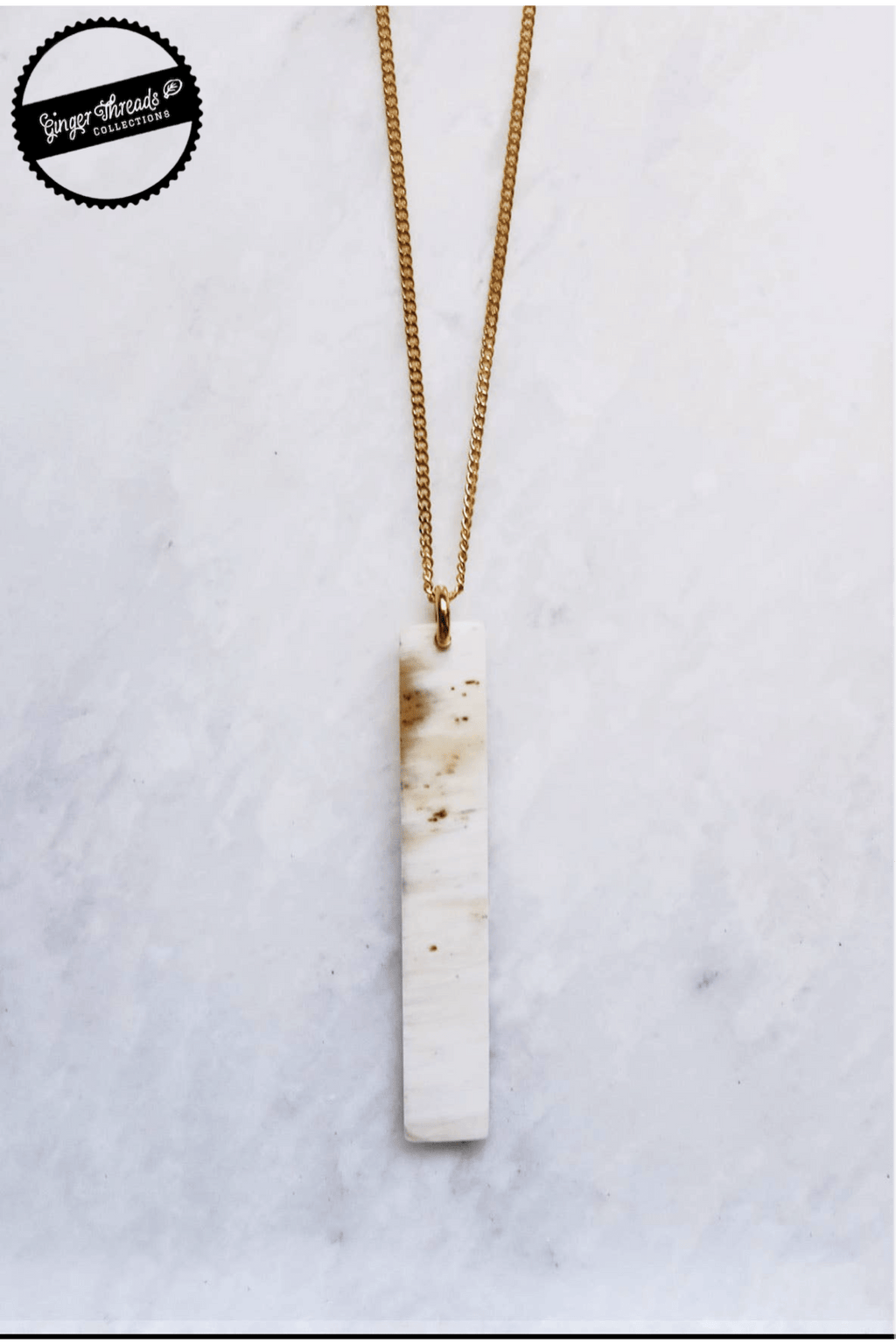 Ginger Threads Collections Necklace Buffalo Horn Bar Necklace