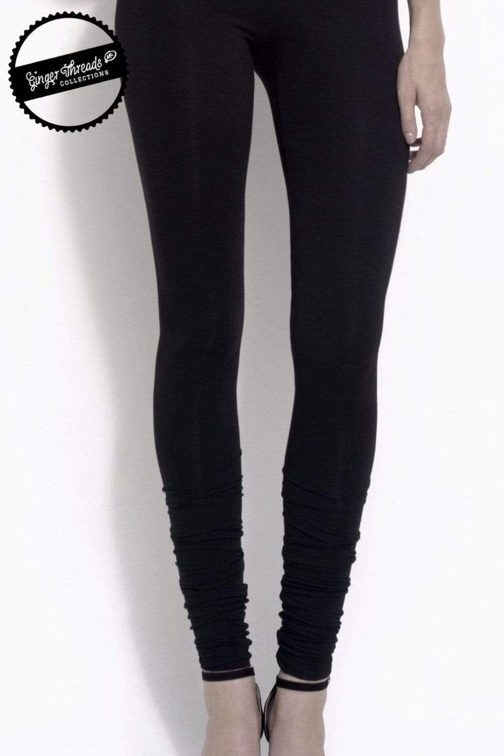 Ginger Threads Collections pants Bamboo Stacked Black Jersey Leggings