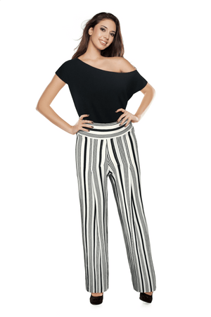 Ginger Threads Collections pants Black and ivory varied striped wide leg palazzo trouser