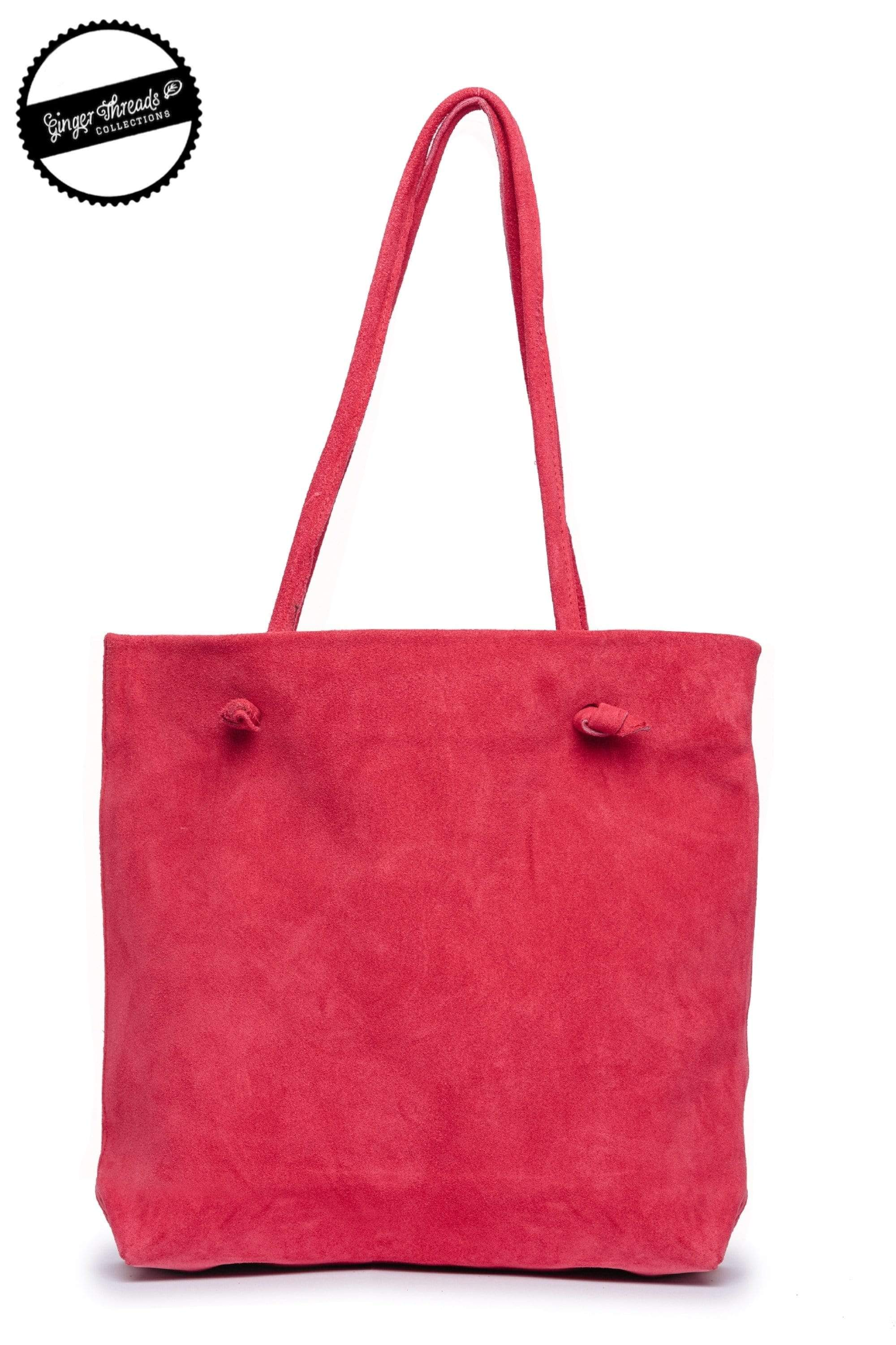 Ginger Threads Collections purse Deep Raspberry Suede Tote