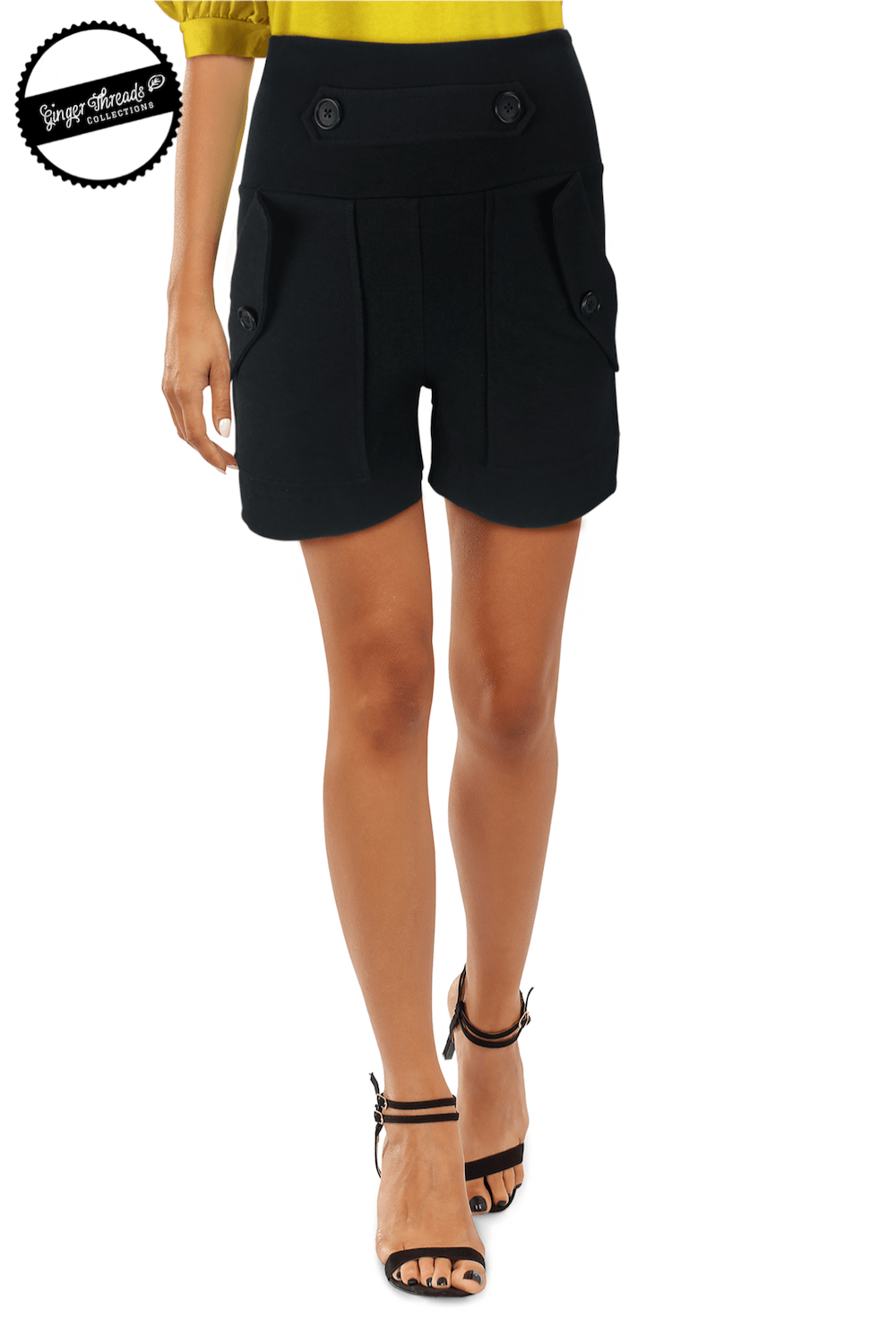 Ginger Threads Collections shorts Black high-waisted mid-thigh shorts with flap pockets