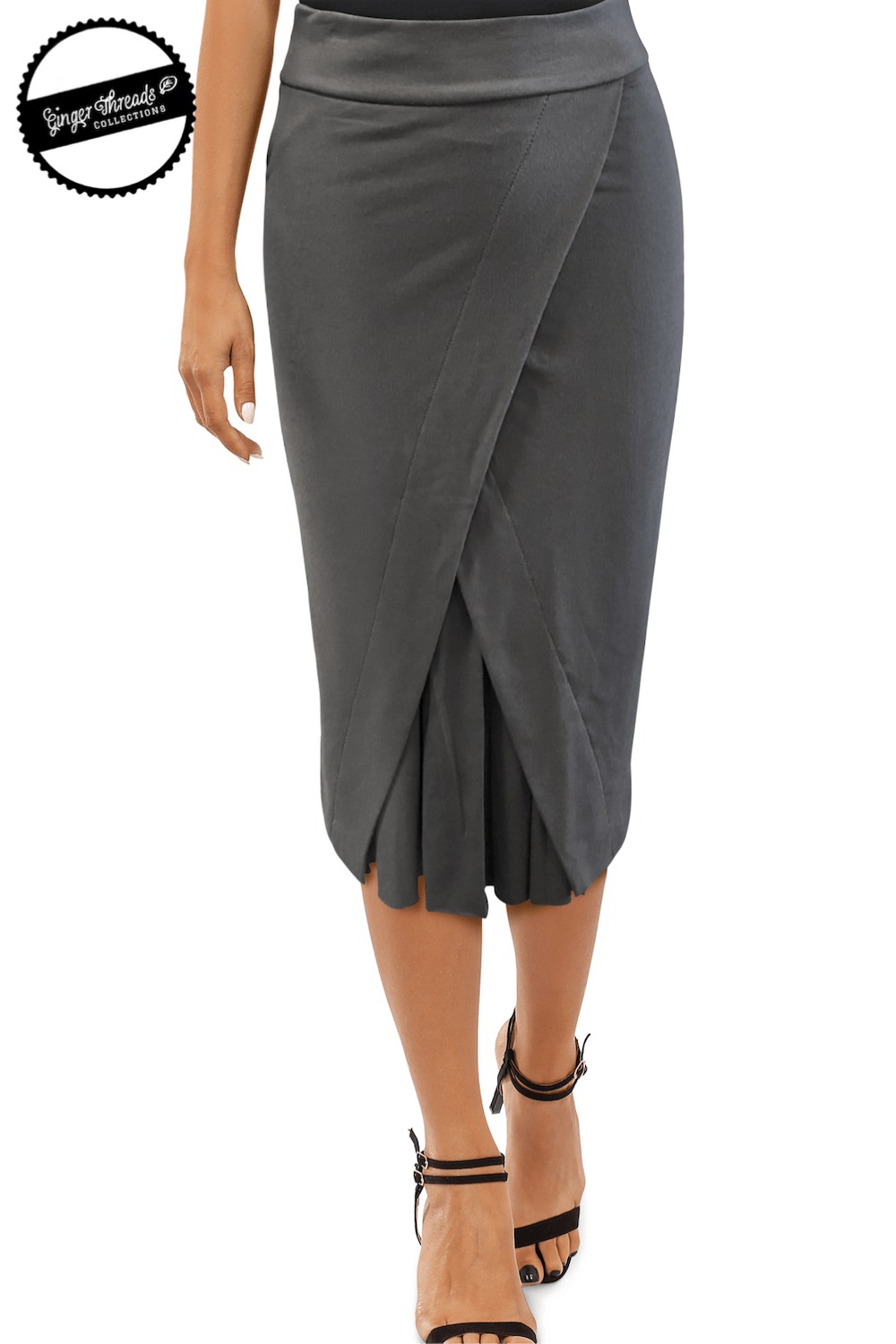 Ginger Threads Collections skirt Grey Bamboo Pencil Skirt