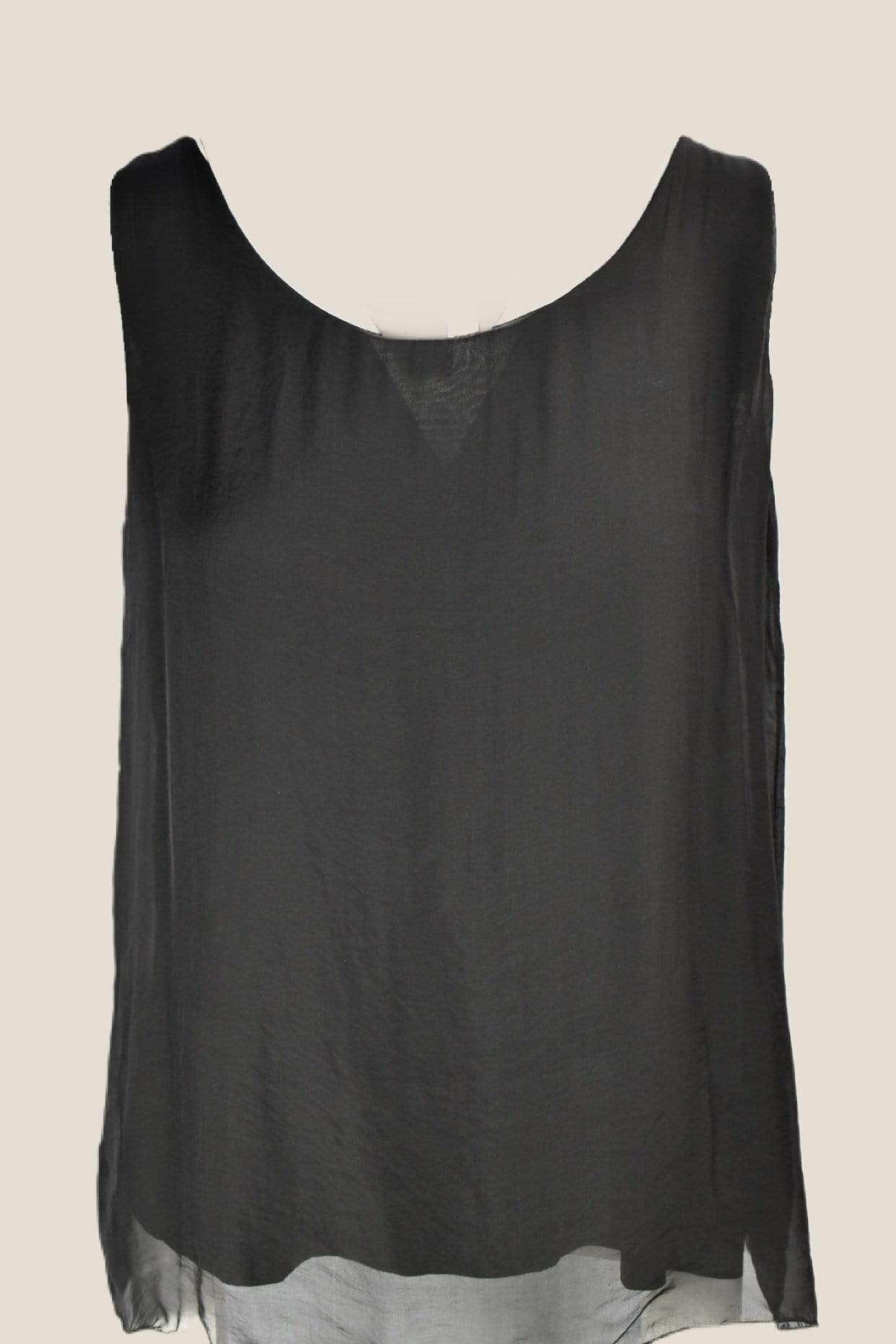 Ginger Threads Collections tank top Black Sleeveless Silk Tank