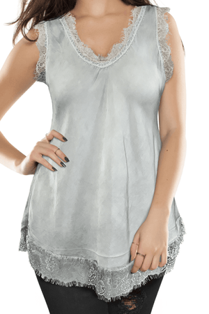 Ginger Threads Collections tank top Seafoam Green Silk Tank