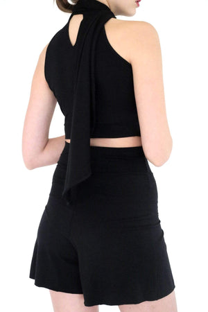 Ginger Threads Collections top Black Cropped Halter Tank with Oversized Tie