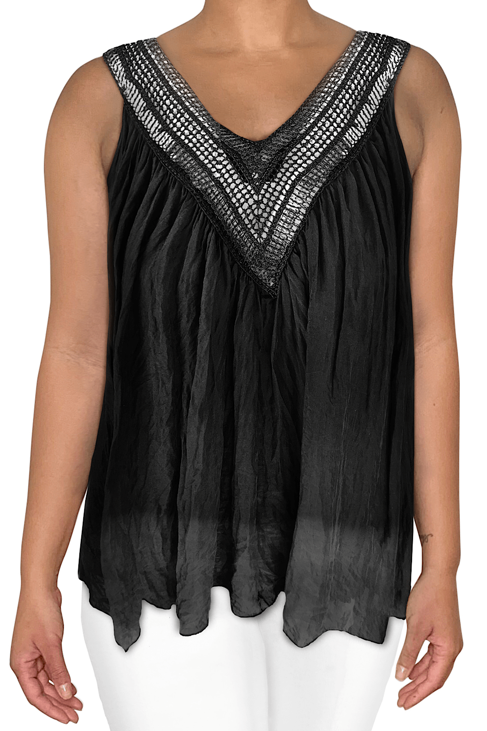 Ginger Threads Collections top Crochet Sequin V-Neck Tank