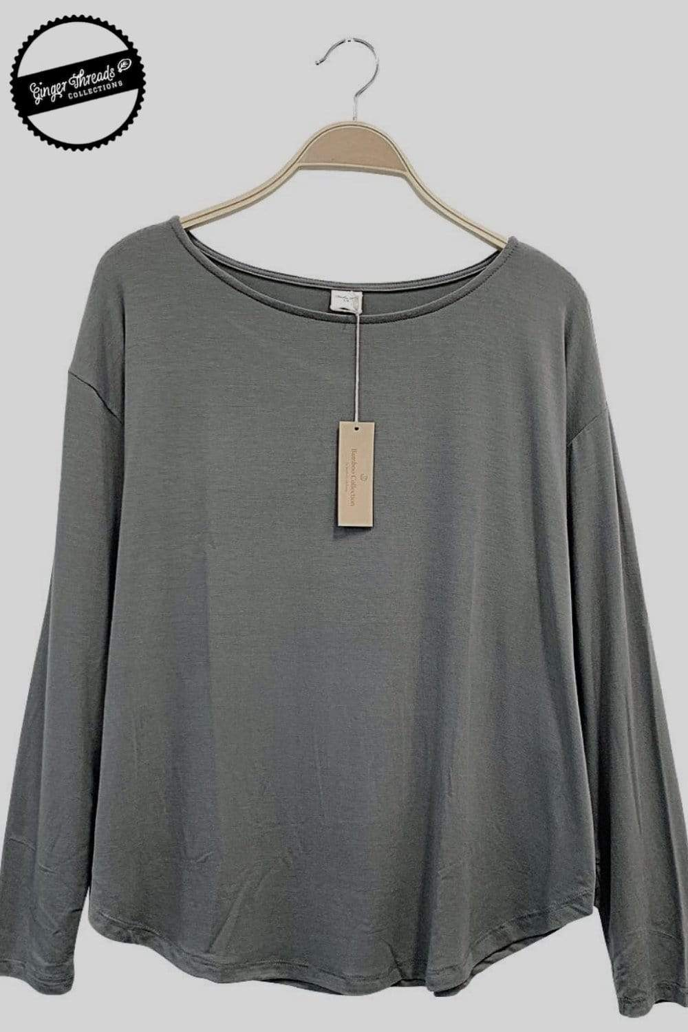 Ginger Threads Collections top Grey Bamboo Long Sleeve Top