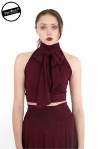Ginger Threads Collections top Merlot Cropped Halter Tank with Oversized Tie