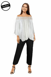 Ginger Threads Collections top White Lace Off-the-Shoulder Top
