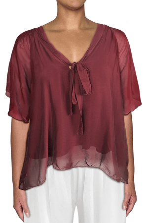 Ginger Threads Collections top Wine Silk Bow-front blouse