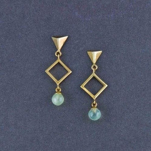 925 Silver Gratia Golden Geo Elegant Earrings In Peridot