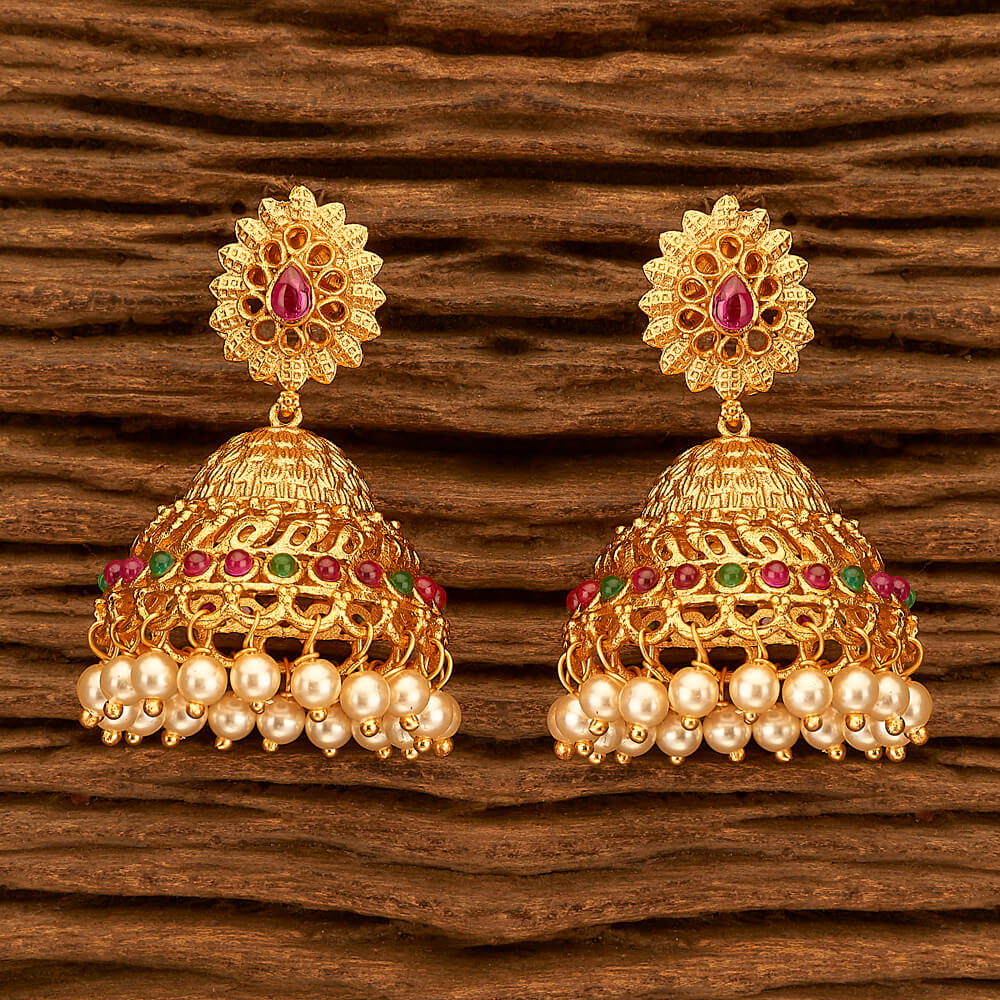 Antique Style Indian Earring With Matte Gold Plating