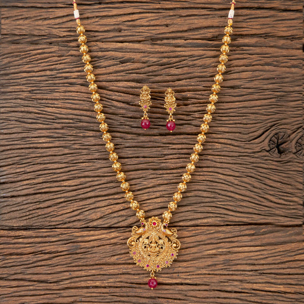 Antique Peacock Pendant Set With Matte Gold Plating