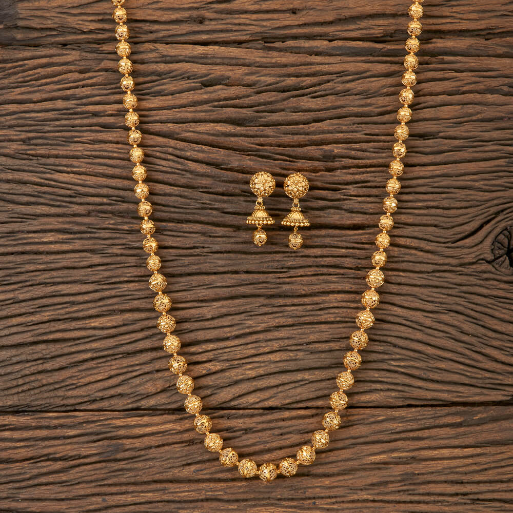 Antique Style Long Necklace With Gold Plating