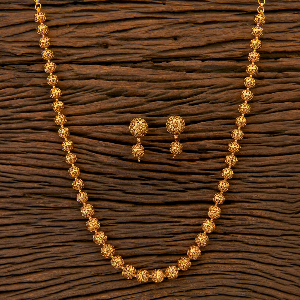 Antique Style Mala Necklace with matte gold plating