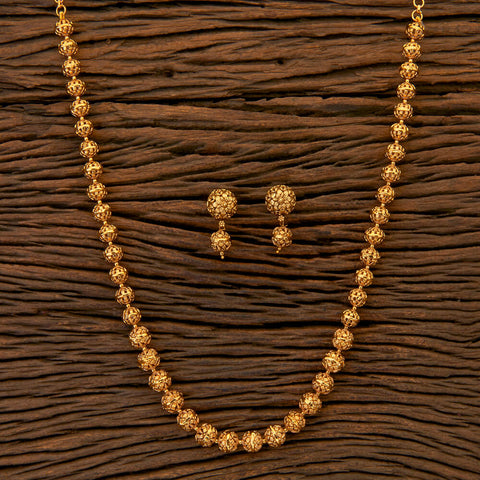 Antique Mala Necklace with matte gold plating