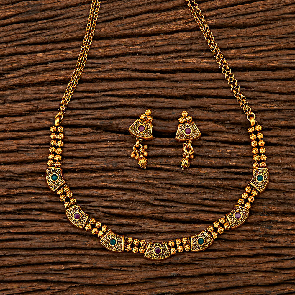 Antique Style Necklace with matte gold plating