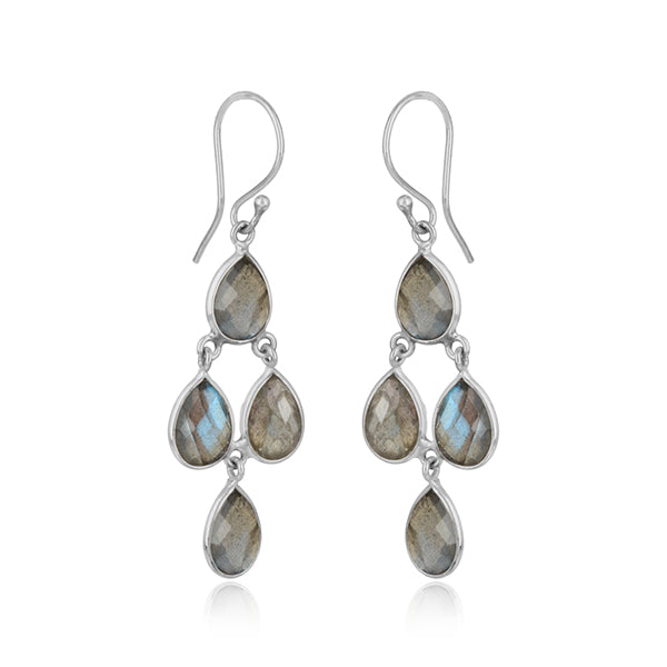 Handmade Chandelier Earring in Silver 925 and Labradorite