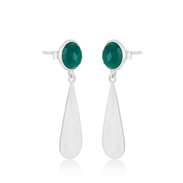 925 Silver Earrings In Dangle Design With Green Onyx Gemstone