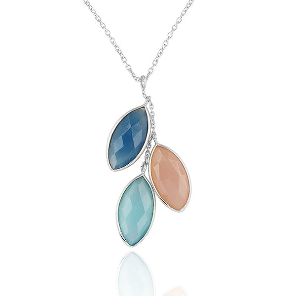 925 Silver Necklace In Three Candy Design with CHALCEDONY Gemstones