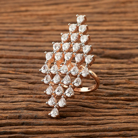 Cz Classic Ring with Rose Gold plating