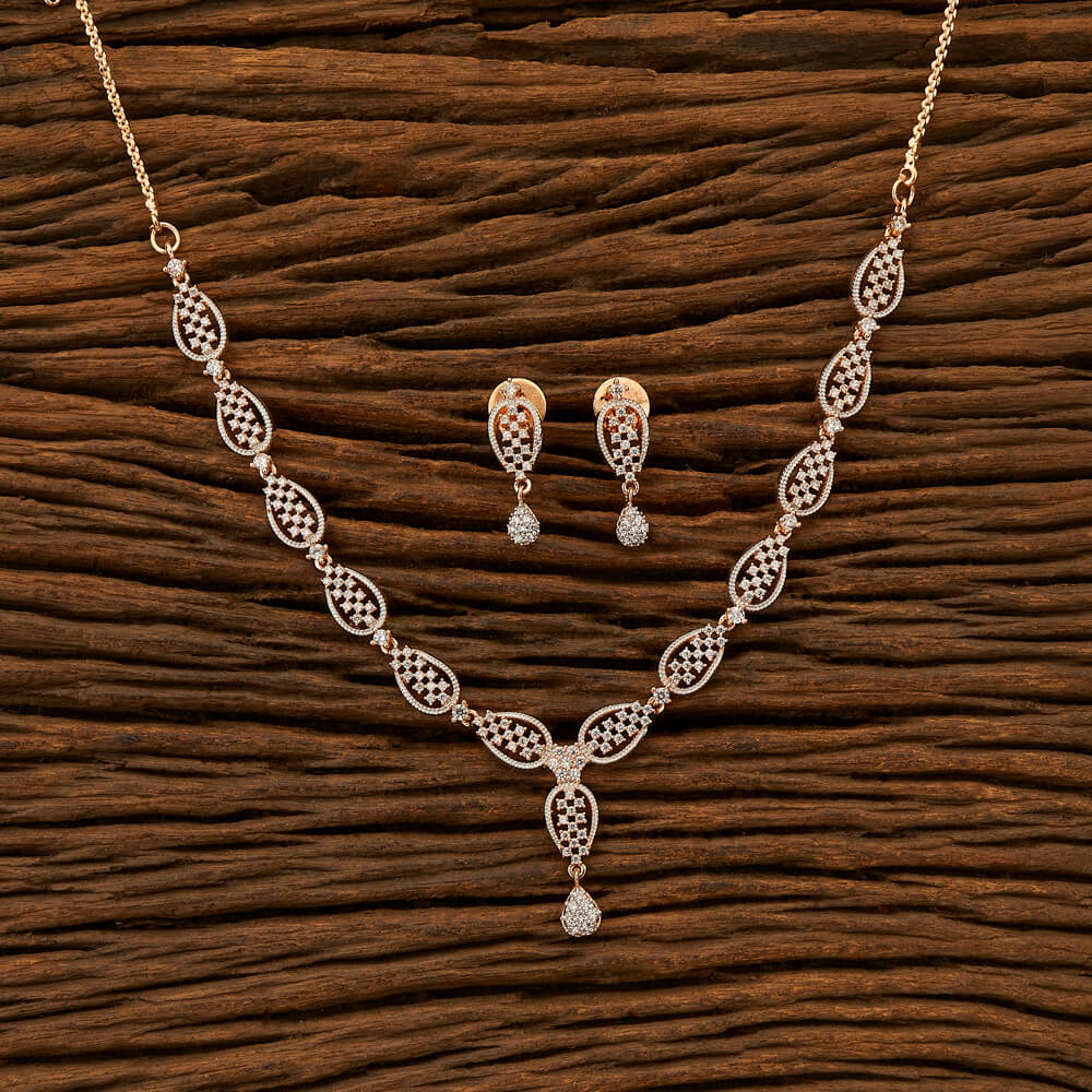 Cubic zirconia Classic Necklace with Rose Gold plating