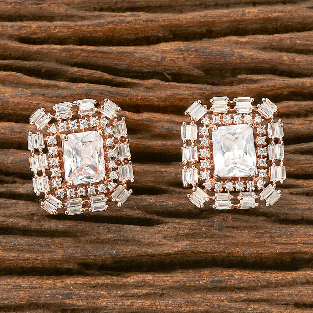 Cubic zirconia Earrings with Rose gold plating