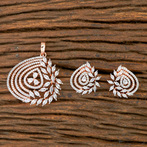 Cz Classic Pendant set with Rose Gold plating