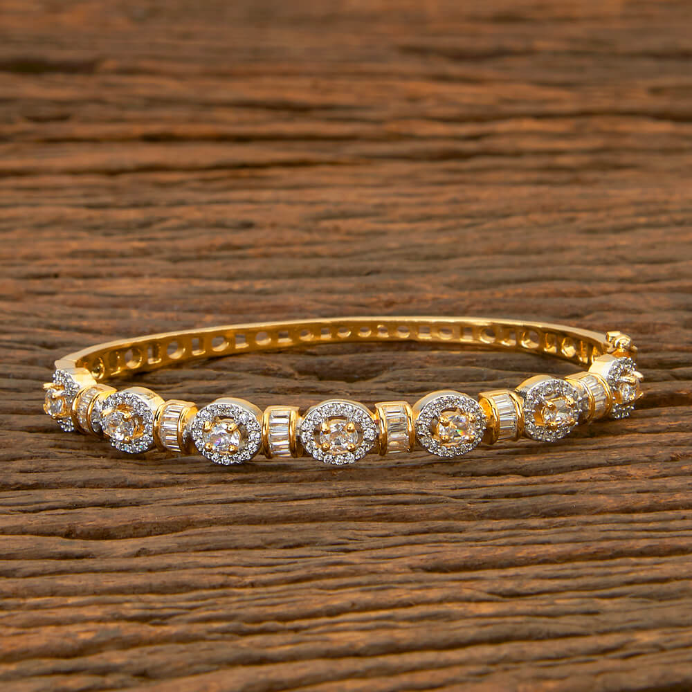 Cubic zirconia Delicate Kada with 2 Tone plating