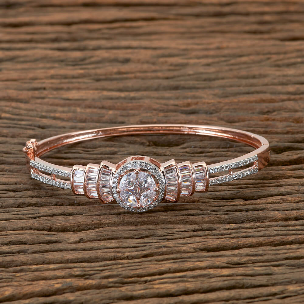 Classic Bracelet With Zirconia Stone and Rose Gold Plating
