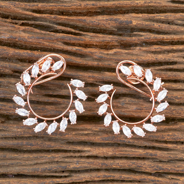 Cz Chand Earring With Rose Gold Plating