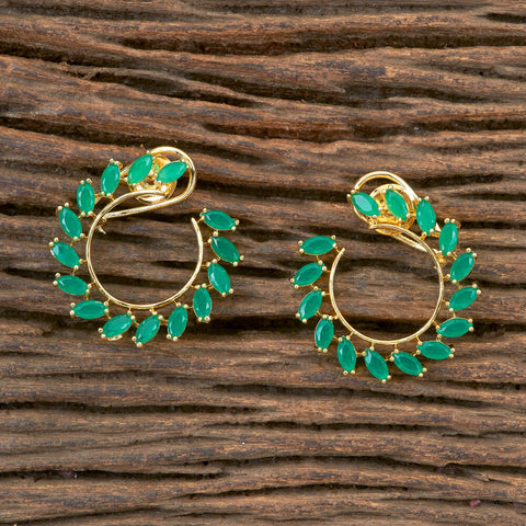 Cz Chand Earring With Gold Plating