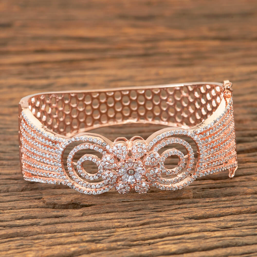 Cubic Zirconia Bracelet With Rose Gold Plating