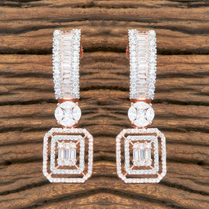 Cz Short Earring With Rose Gold Plating