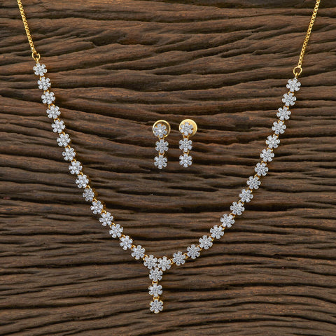 Cz Delicate Necklace With 2 Tone Plating