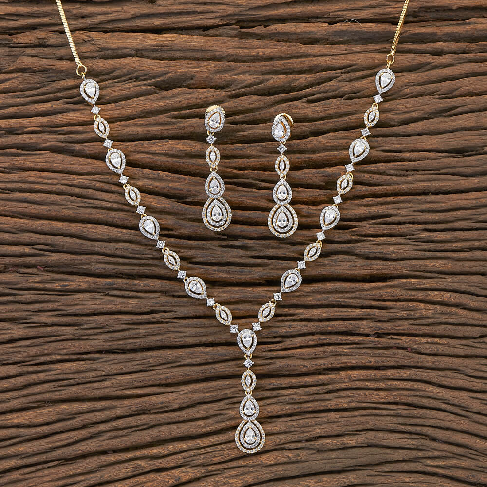 Cubic zirconia Designer Necklace With Gold Plating