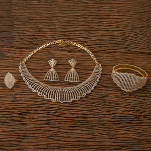 Cubic zirconia Combo Necklace sets with gold plating