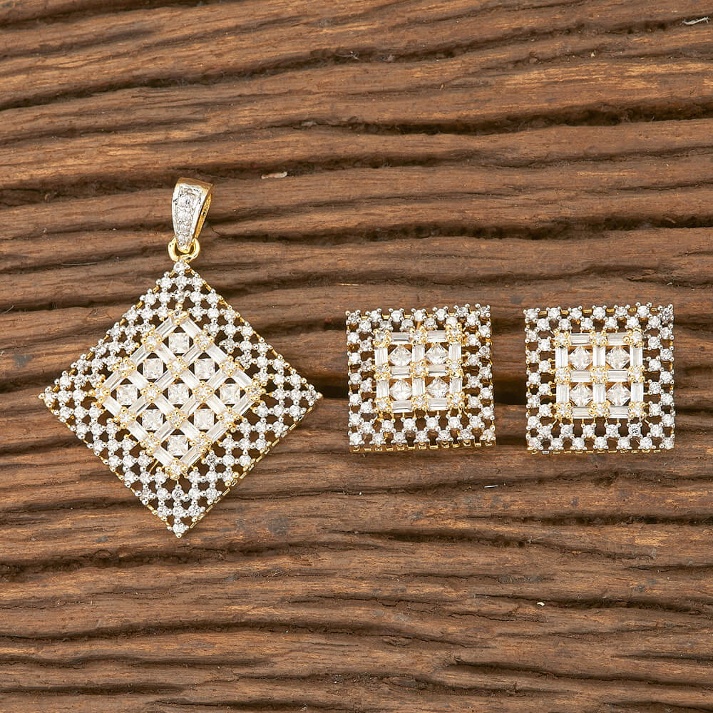 CZ Classic Pendant set with 2 tone plating
