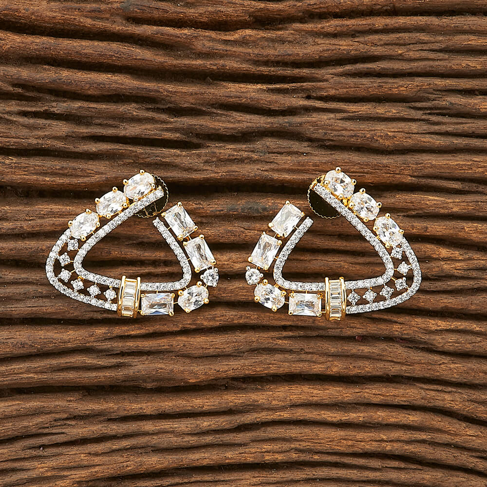 CZ Short Earring with 2 tone plating