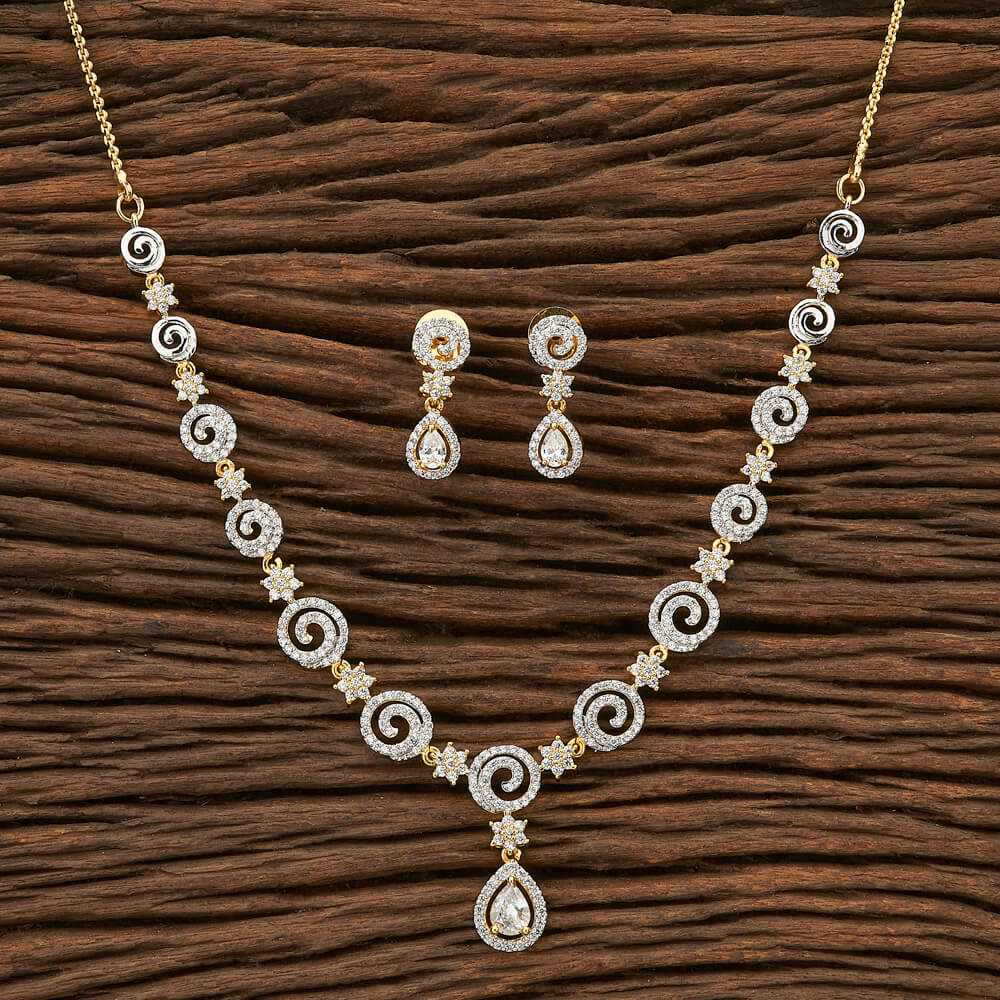 Cubic zirconia Classic Necklace with 2 tone plating