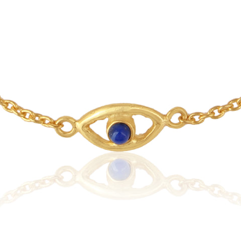 925 Silver Bracelet In Evil Eye Collection With Lapis Lazuli Gemstone