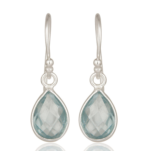 925 Silver Earrings In Pear Design With Blue Topaz Gemstone