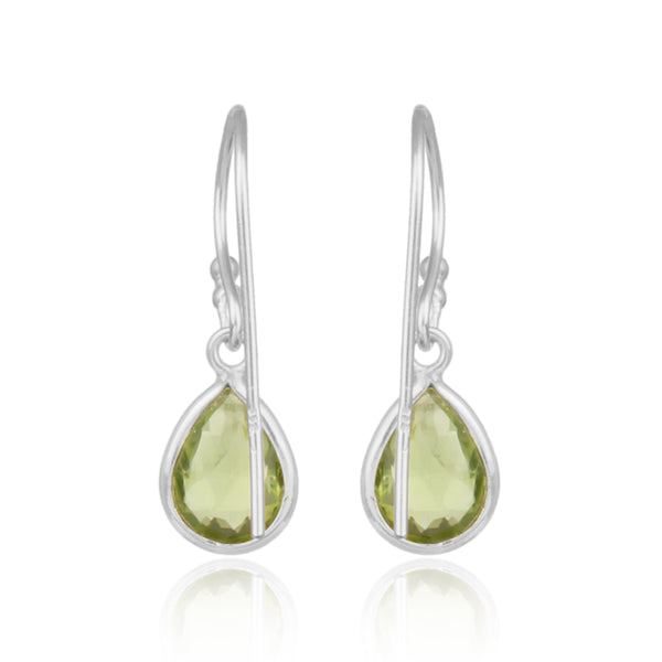 925 Silver Earrings In Pear Design With Peridot Gemstone