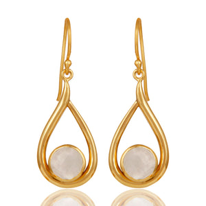 18k Yellow Gold Plated Rainbow Moonstone Gemstone Silver Dangle Drop Earring