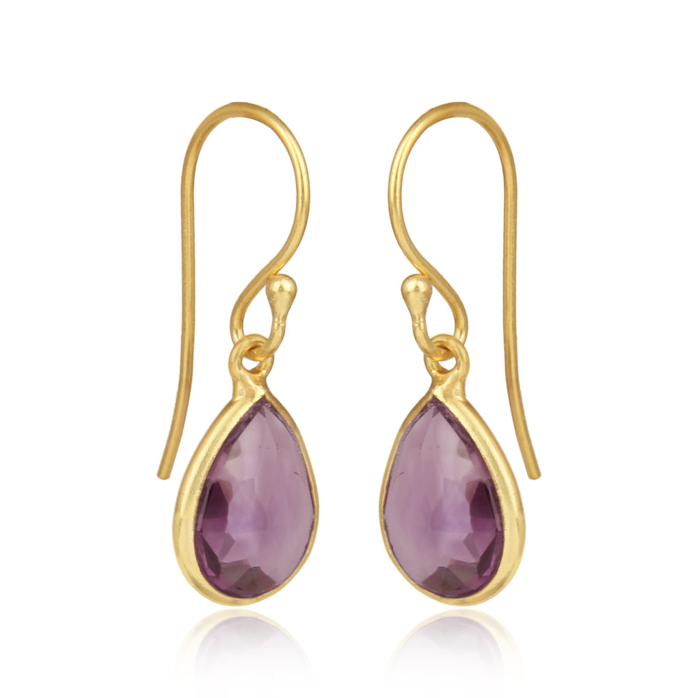 925 Silver Earrings In Pear Design With Amethyst Gemstone