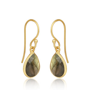 925 Silver Earrings In Pear Design With Labradorite Gemstone