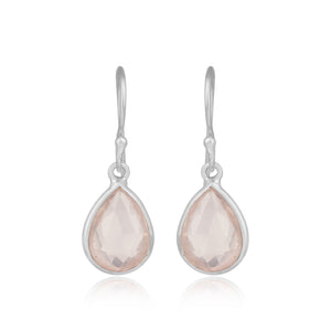 925 Silver Earrings In Pear Design With Rose Quartz Gemstone