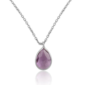 925 Silver Pendant Set In Pear Design With Amethyst Gemstone